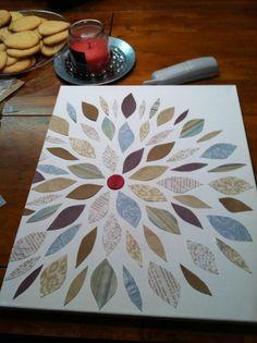 Scrapbook paper flower canvas