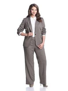 166788e6bb2 Tahari by ASL Plus Women s Pant Suit (Dark Brown). Sale  59.00