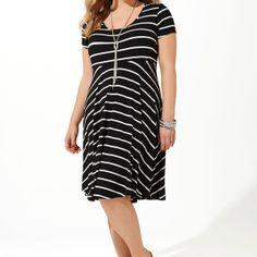 Striped T-Shirt Dress-Plus Size Dress-Avenue