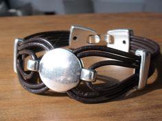 multi strap brown leather bracelet with sterling silver by kekugi, $23.00