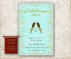 Custom Wedding Anniversary Invitation DIGITAL Card by PAINTandPEN, $12.00