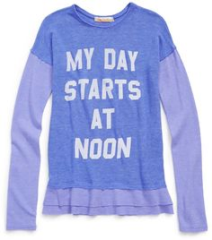 Vintage Havana Girls MY DAY STARTS AT NOON Layered Graphic Tee Vintage Havana, Girl Day, Graphic Tees, Layers, Girl Outfits, Sweatshirts, Girls, Sweaters, Fashion