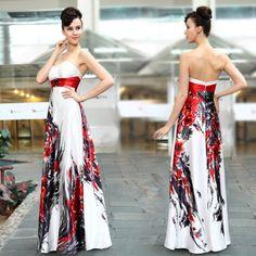 Dlouhé saténové šaty s květinovým potiskem