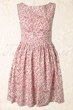 Emily and Fin - Abigail Pink Hearts A-line Dress in White