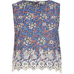 Blue floral embroidered hem crop top £22.00
