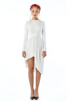 Cristina Patria Midi White : wysmuklająca biała sukienka