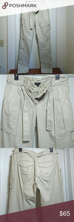 NWOT Oatmeal Alice Pants High Waist Paper Bag Styl Fashionable and feminine, these pants will be a favorite in a hurry! Huge pockets, loose in the thigh, more fitted in the calf but not skinny jean tight. Waxed cotton blend, super comfy with a drawstring tie. I would say they run a little big. worth new york Pants Straight Leg