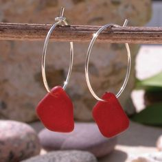 Earrings with red sea glass from Rincon, Puerto Rico