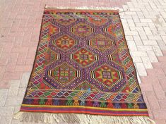 Turkish Kilim Rug 70.5 x 47 embroidered kilim by PocoVintage