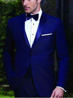 2015 New arrival Blue Groom Wear tuxedos/ Wedding suits for mens /groommens one button Wedding suits 3 piece set(jakcet+pants+bowtie)