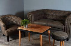 Sofá Chester - Decoración Industrial y Vintage - #cuero #vintage #capitoné