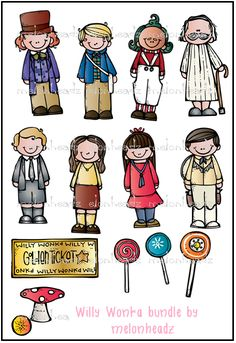 Charlie Clipart $  http://www.teachersnotebook.com/product/melonheadzdoodles/willy-wonka-inspired-line-art-bundle