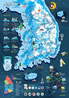 [인포그래픽] 내일로지도 겨울 - 브랜딩/편집 · 일러스트레이션, 브랜딩/편집, 일러스트레이션, 디지털 아트, 일러스트레이션 Map Design, Media Design, Branding Design, Graphic Design, Information Design, Information Graphics, City Layout, Tourist Map, Visual Communication