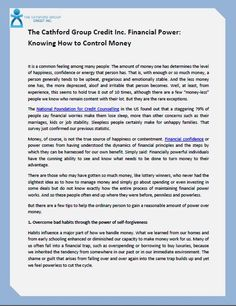 The Cathford Group Credit Inc. Financial Power: Knowing How to Control Money