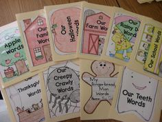 Our Words. File folder with words for the month that could be reused.
