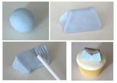 Bag cupcake topper--only a visual aid (but pretty self-explanatory) not written tutorial, just links to same photos