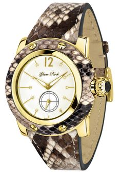 Price:$348.75 #watches Glam Rock GR40041, Add an understated look to your outfit with this unique and detailed Glam Rock watch. This timepiece offers a white enamel dial in a gold tone ion plated stainless steel case with natural python cover.