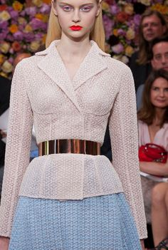 How cool is this - I love the bustier style cup lines used in a tailored jacket. From the Dior Haute Couture Paris show.
