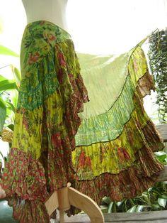 Ariel on Earth Ruffle Wrap Skirt by fantasyclothes on Etsy Bohemian Gypsy, Gypsy Style, My Style, Sewing Clothes, Diy Clothes, Gypsy Skirt, Boho Fashion, Fashion Design, Steampunk Fashion