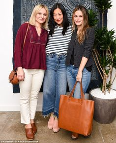 Good company: Kristen Bell (L) and Rachel Bilson (R) went with effortlessly cool wardrobes...