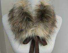Искусственный мех воротника, меха Scarflette с атласной лентой связей, Женские меховые Neckwarmer, меховой воротник