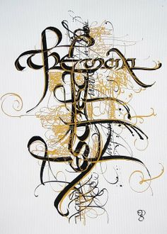 Claudio Gil (Alterated uncial. Flora Graphica silk screen poster. Vinilic gold and black ink on paper)