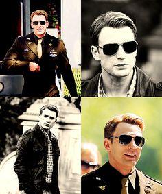 Sunglasses, uniform, leather coat.