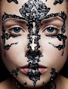 Blacklogcontributor and makeup artist Becca Gilmartinhas collaborated with photographer Nelson Lai to create these images using black overlayed with silver leaf and gold leaf.