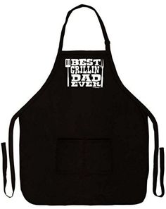 Father's Day Gift Best Grillin' Dad Ever Funny Apron for Kitchen BBQ Barbecue Cooking Grilling Bacon Two Pocket Apron for Dad or Grandpa Black