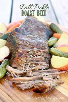 Dill Pickle Roast Beef (Slow Cooker) | Roast beef is cooked in the Crock Pot with carrots, potatoes and yes, dill pickles. It may sound strange but it's one delicious dinner!