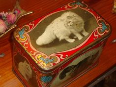 VERY RARE 1910 English Vintage Biscuit Tin/Box with hinged lid $95.00
