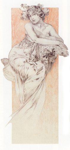 Study for Figures Decoratives,   Alphonse Mucha 1905