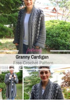 This Easy Chunky Crochet Cardigan Is Perfect for Chilly Days - Knit And Crochet Daily Crochet Coat, Crochet Cardigan Pattern, Crochet Jacket, Chunky Crochet, Easy Crochet, Crochet Clothes, Crochet Sweaters, Crochet Blankets, Crochet Ideas