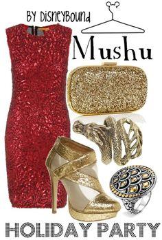 Disney Bound: Mushu from Disney's Mulan (Holiday Party Outfit) Disney Themed Outfits, Disney Bound Outfits, Disney Dresses, Disney Clothes, Disney Inspired Fashion, Disney Fashion, Estilo Disney, Character Inspired Outfits, Fandom Fashion