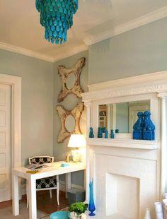 Suzie: Massucco Warner Miller - Turquoise blue office design with West Elm white Parsons desk, ...