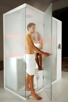 "Compact Shower Cubicle offers Dry Sauna, Steam Bath + Shower | ""Revolution"" – Carmenta"
