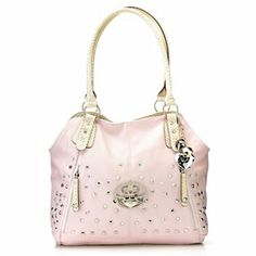 Kathy Van Zeeland Studded Rhinestone Embellished Four-Poster Tote Bag Love the Blush, but Mint is cute too. $76