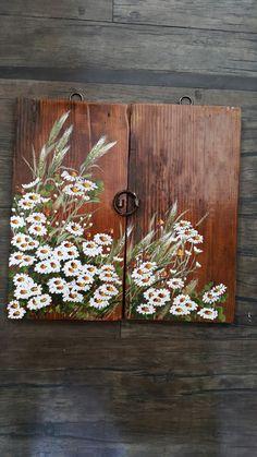 가로 32 세로32 미니 고제문에 그린 강아지풀과 구절초같이 마음을 나눌수있는 친구같은 사이서로 말... Daisy Painting, Fabric Painting, Pallet Painting, Painting On Wood, Beautiful Paintings Of Nature, Wood Pallet Crafts, Creative Wall Painting, Sunflower Canvas, Vintage Botanical Prints