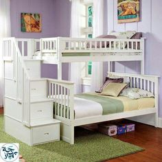 white bunk bed with stairs. Buy Atlantic Furniture White Full Over Full Columbia Bunk Bed With Stairs  And Kids Bedroom Furniture â˜\u2026 Columbia Stairway Bunkbeds White Bunk Bed U