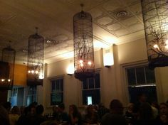 Divine bird cage chandeliers at Blue Ginger, a South East Asian restaurant in Balmain Sydney