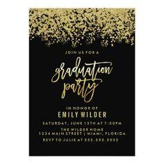 Gold Glitter Confetti Graduation Party Card