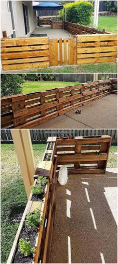 Paletten Garten recycled pallet fence recycled pallet fence # pallet fence designs for the p Diy Fence, Backyard Fences, Garden Fencing, Fence Ideas, Backyard Ideas, Fence Art, Patio Fence, Pallet Ideas In Garden, Landscaping Ideas