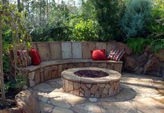 stone fire pit and bench - Google Search