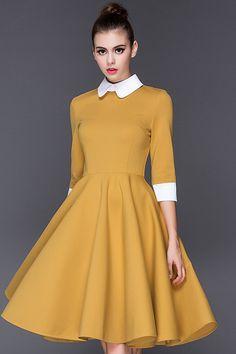 Yellow Fake Collar Flared Dress