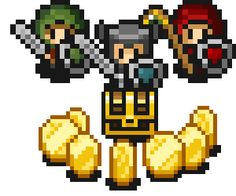 Super Treasure Arena is a unique mix of retro-inspired arcade action and objective-based arena shooters. Game 2d, Pixel Characters, 8 Bit Art, Pixel Art Games, Building Games, Character Base, Indie Games, Art Styles, Game Design