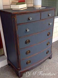 Beautiful antique dresser painted in steel gray chalk paint, distressed and sealed with clear wax by SJM Furniture
