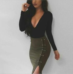 Army green Rivet Sexy Bodycon Skirt Split Women Skirt Fashion Short Skirt E118