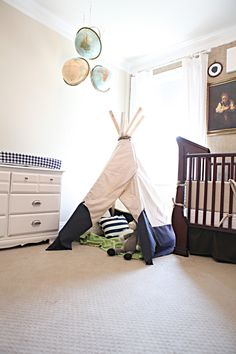 Easy Peasy Tee Pee- plus the navy and green combo in this picture I think would be perfect for a little boys room