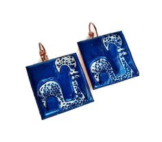 Portuguese Rooster clay blue white tile earrings rose by XTory