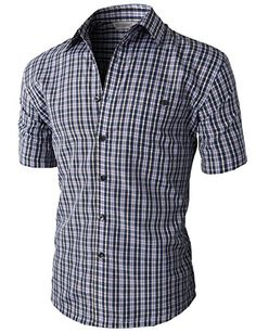 H2H Mens Seersucker Casual Button Down Shirts with Short & Roll-up ...